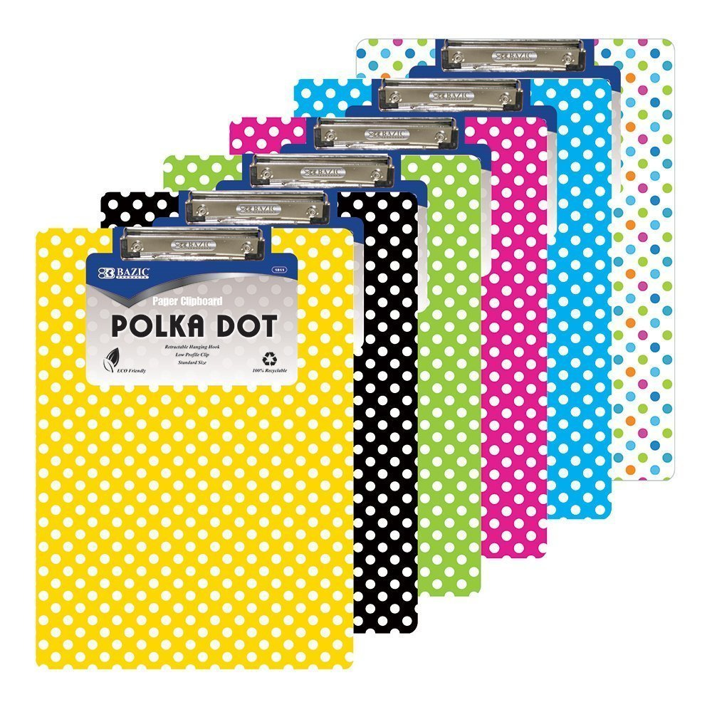 6 Pk, BAZIC Standard Size Polka Dot Paperboard Clipboard w/ Low Profile Clip (Colors May Vary)