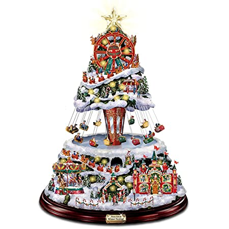 illuminated and hand painted rotating disney christmas tree topper featuring mickey and his sleigh by the bradford exchange - Disney Christmas Tree Topper