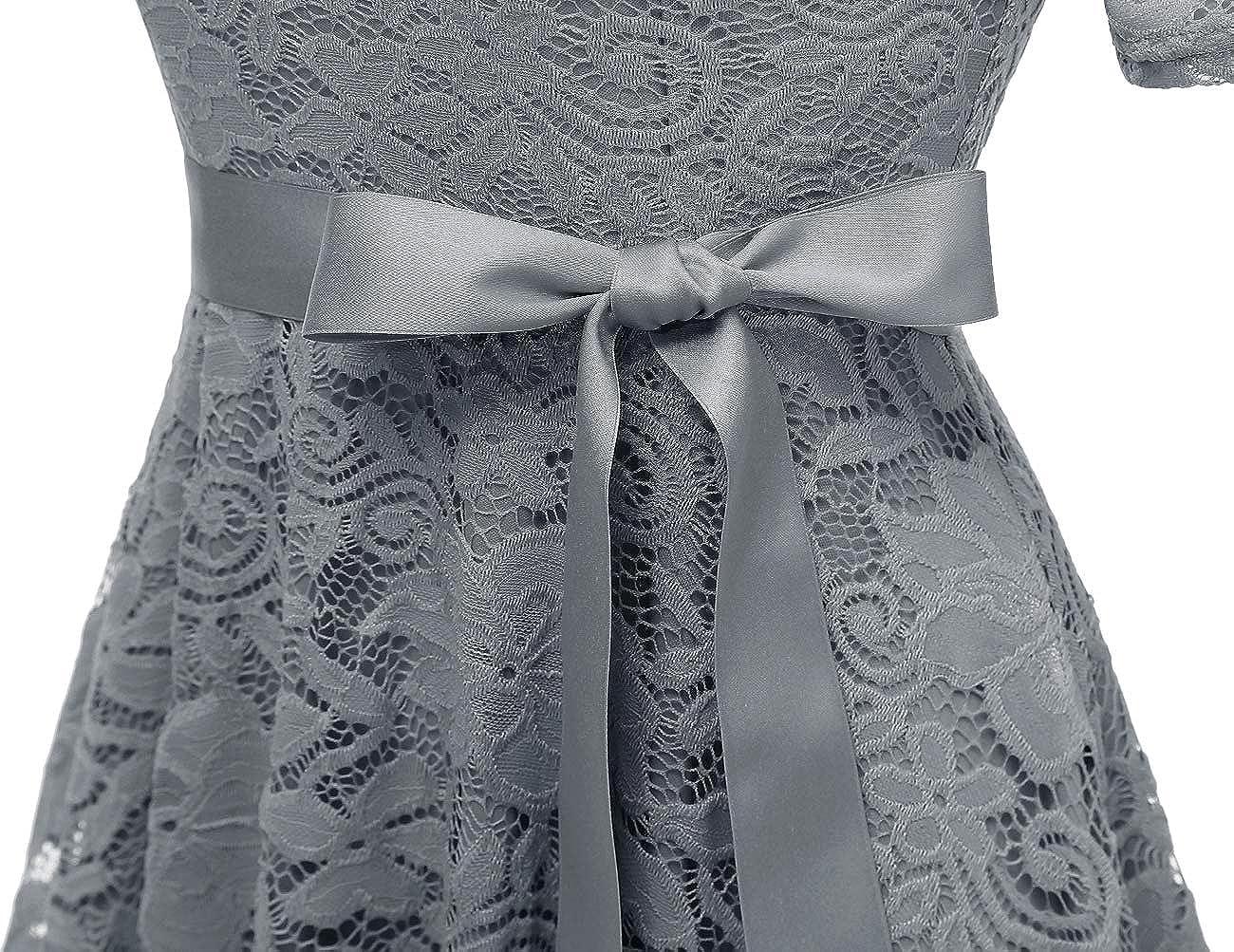 DRESSTELLS Elegant Damen Hochzeit Cocktail Spitzenkleid Rundhalsausschnitt Kurzarm Abendkleid