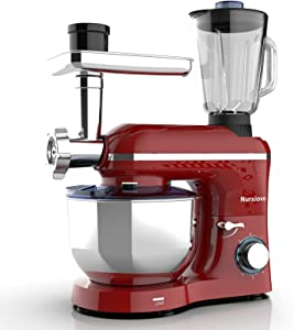 Nurxiovo 3 in 1 Kitchen Stand Mixer, 850W Multifunctional Food Electric Commercial Mixer Tilt-Head Dough Machine with 6-1/2 Qt Stainless Steel Bowl, Whisk, Hook, Beater, Juicer and Meat Blender, Red
