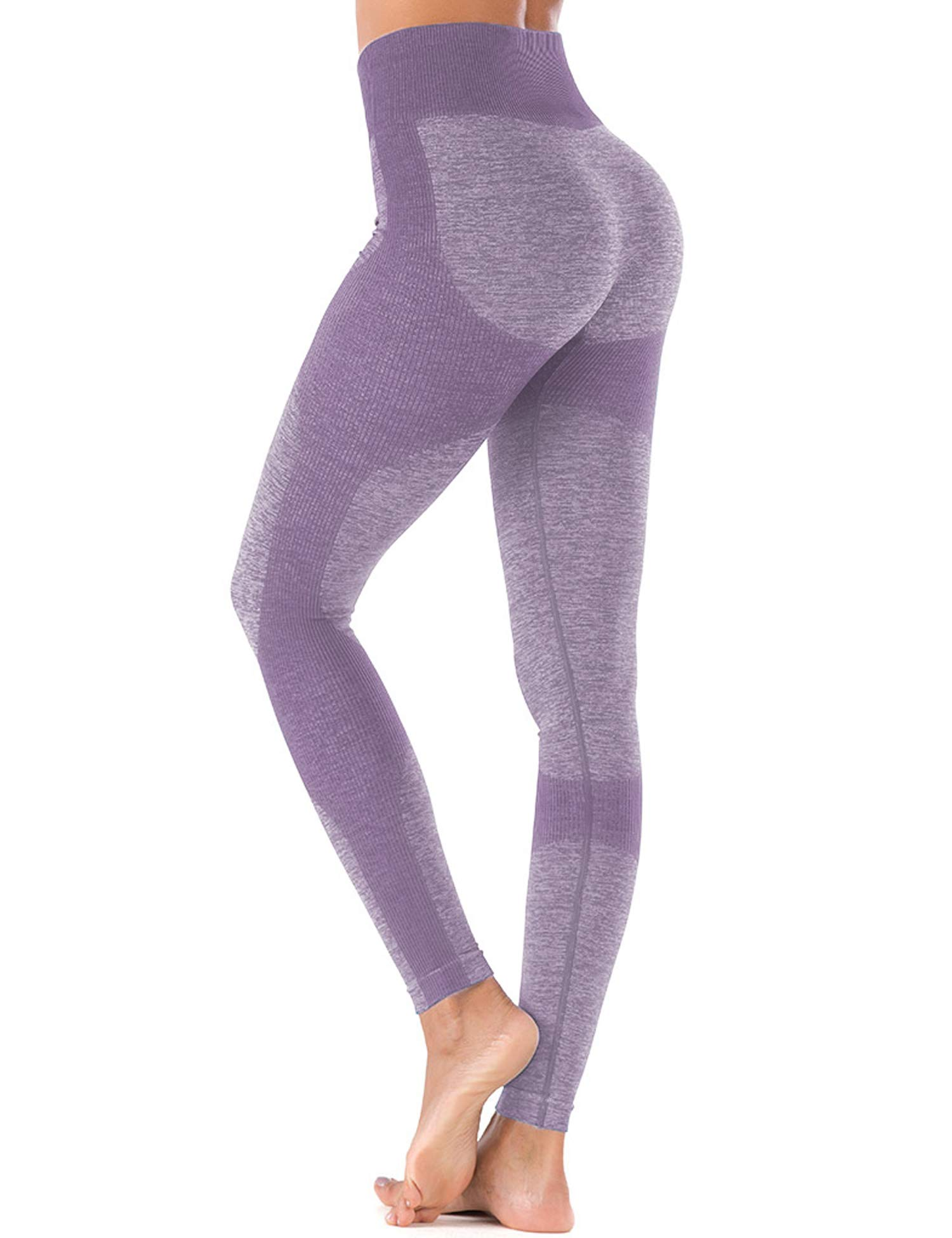 Yoga Pants Extra Soft Leggings for Women Non See-Through High Waist Workout Leggings Purple L by ZHENWEI