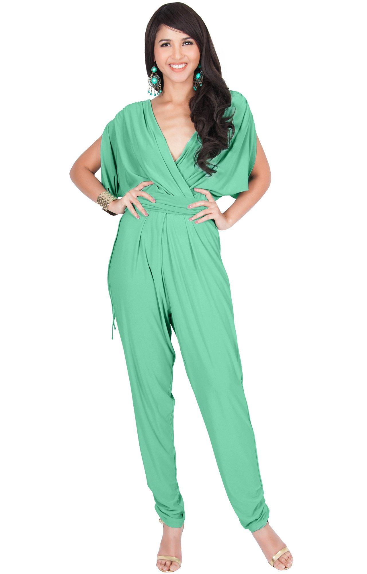 KOH KOH Plus Size Womens Long Pant Pants Suit Suits Sexy V-Neck Short Batwing Sleeve Sleeves Cocktail Party Casual Pantsuit Playsuit Jumpsuit Jumpsuits Romper Rompers, Moss/Mint Green 2X 18-20