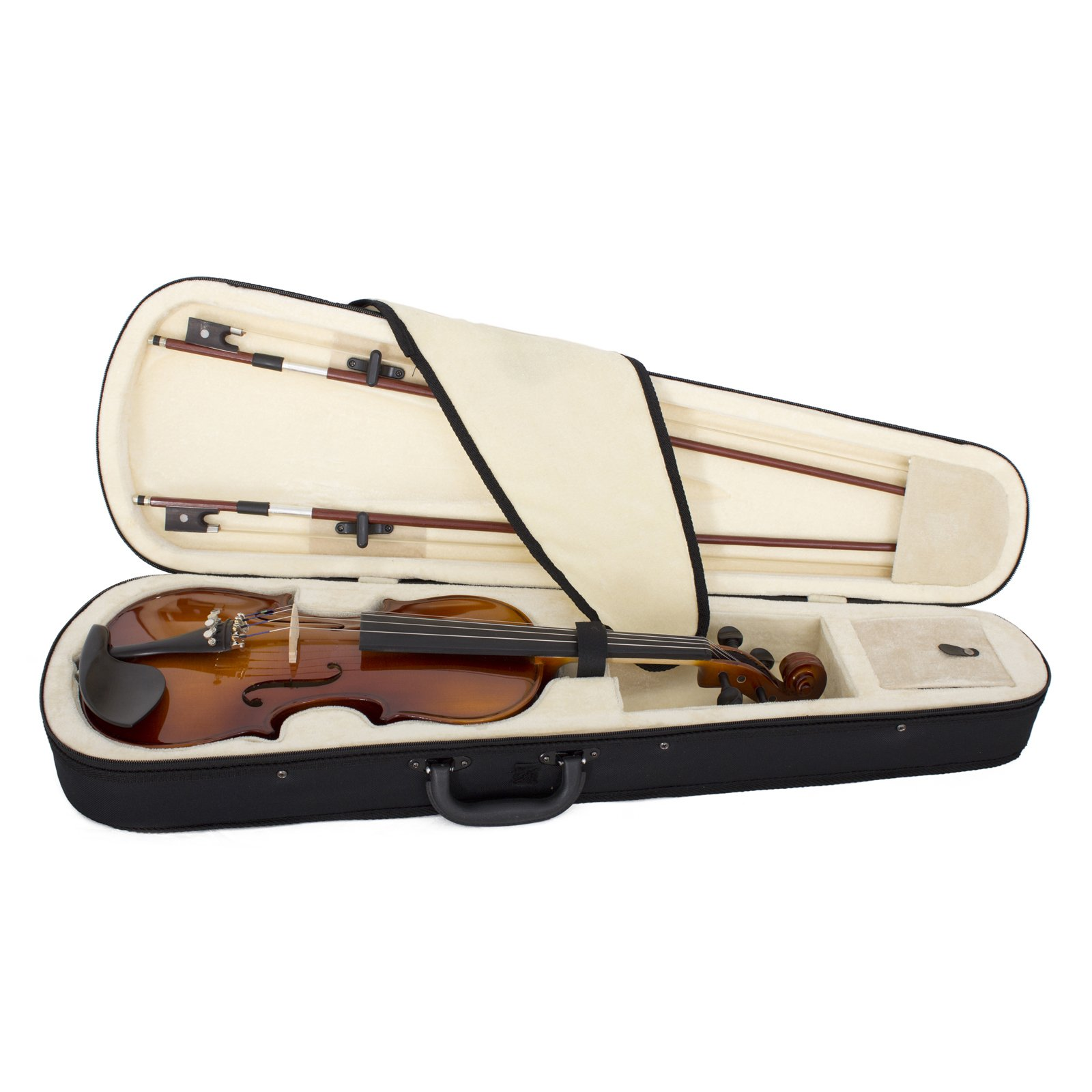 Cecilio CVN-320L Solidwood Ebony Fitted Left-Handed Violin with D'Addario Prelude Strings, Size 4/4 (Full Size) by Cecilio (Image #3)