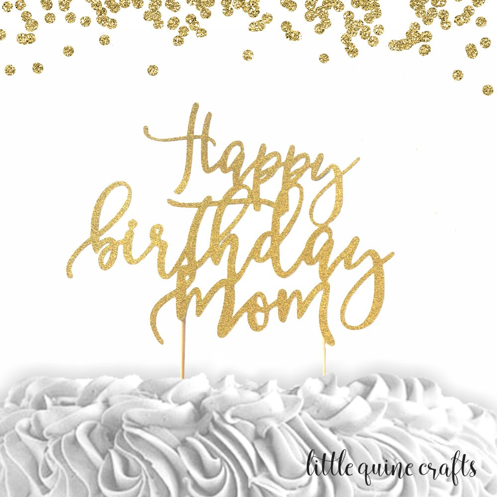 Super Amazon Com 1 Pc Happy Birthday Mom Gold Silver Glitter Cake Funny Birthday Cards Online Eattedamsfinfo