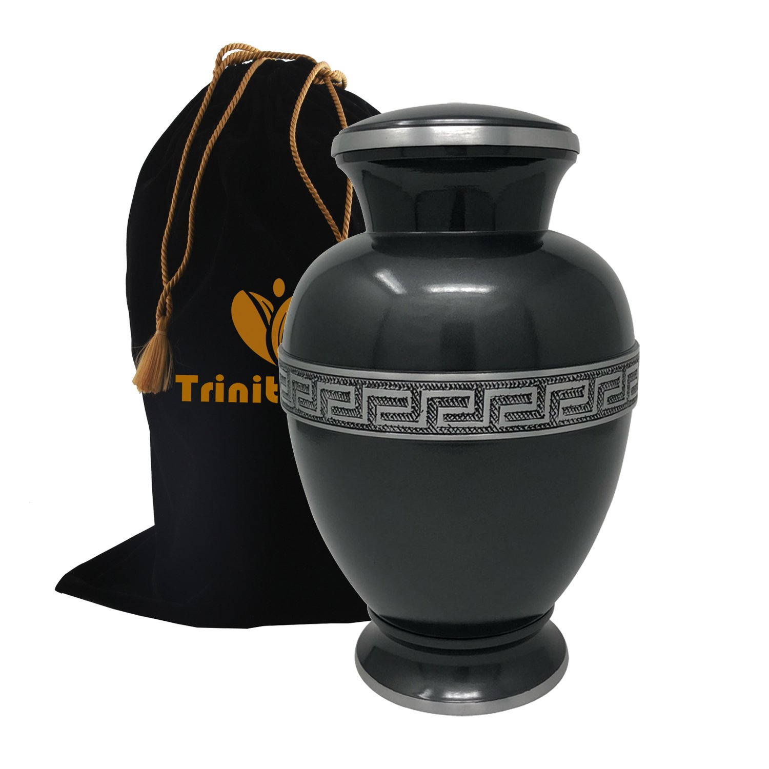 Zeus Sapphire Cremation Urn - 100% Handcrafted Adult Funeral Urn - Solid Metal Large Urn - Affordable Urn for Human Ashes with Free Velvet Bag (Grey)