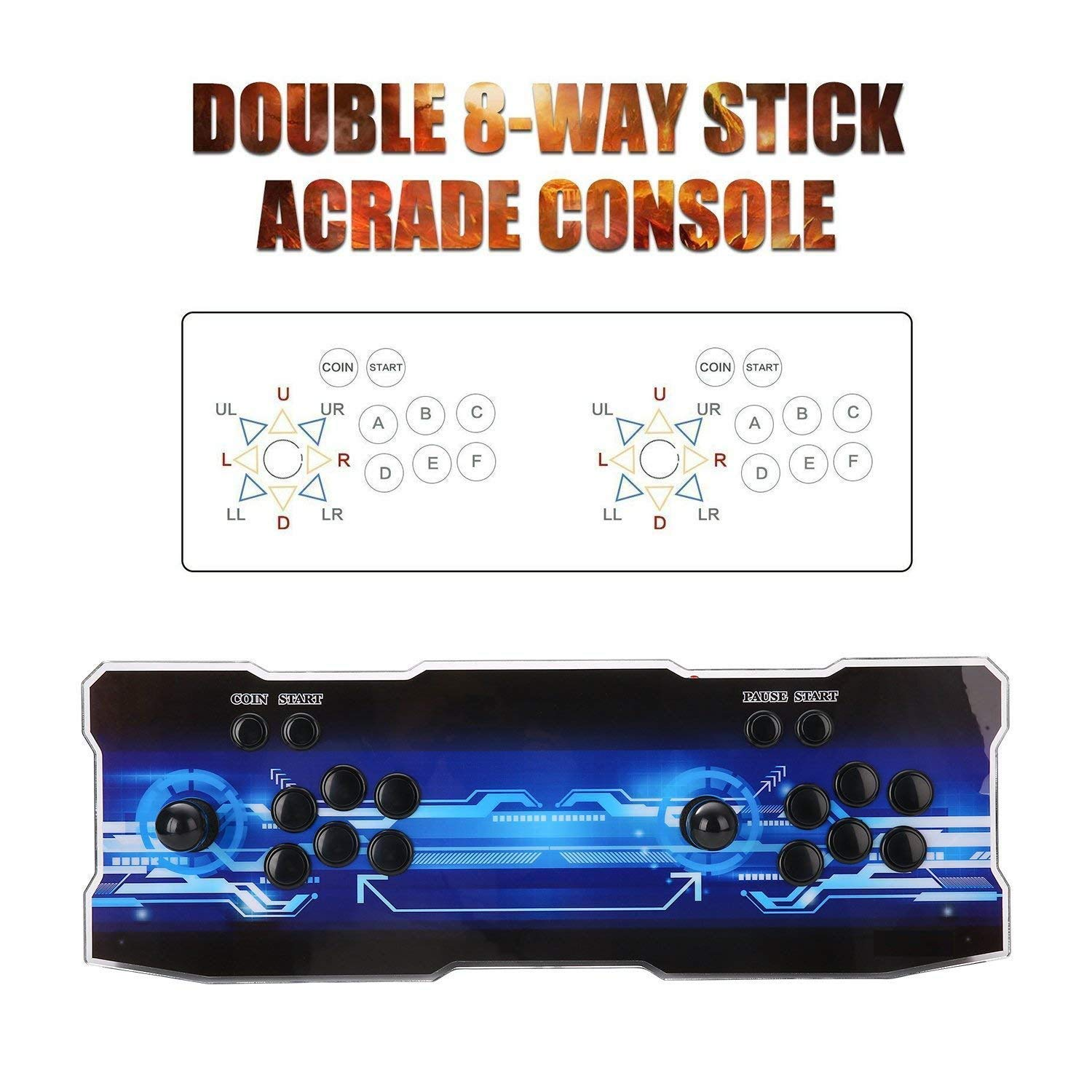 SeeKool Newest 3D Pandora X Arcade Game Console, 1920x1080 Full HD 4 Players Max Arcade Machine with 2200 Games, Support Extended TF Card& USB Disk to Enjoy More Games PC / Laptop / TV / PS3 by SeeKool (Image #7)