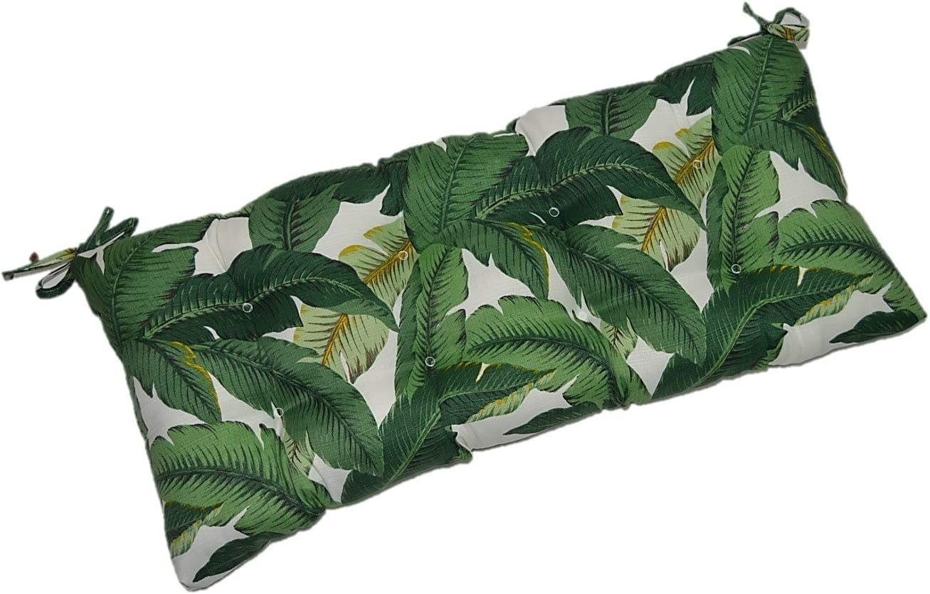 RSH DECOR Indoor Outdoor Tufted Cushion for Bench, Swing, or Glider – Tommy Bahama Swaying Palms – Aloe – Green Tropical Palm Leaf – Choose Select Size 38 X 18