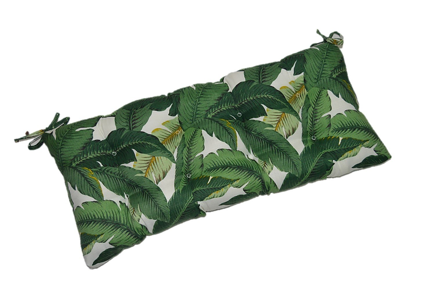 Indoor/Outdoor Tufted Cushion for Bench, Swing, or Glider - Tommy Bahama Swaying Palms - Aloe - Green Tropical Palm Leaf - Choose/Select Size (36'' X 14'')
