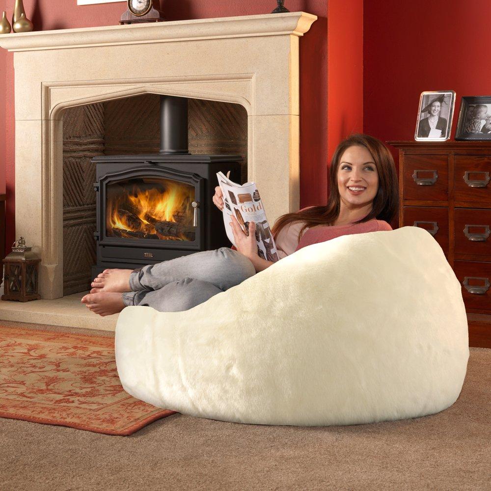 Luxury XL Large Bean Bag Faux Fur NATURAL Amazoncouk Kitchen Home