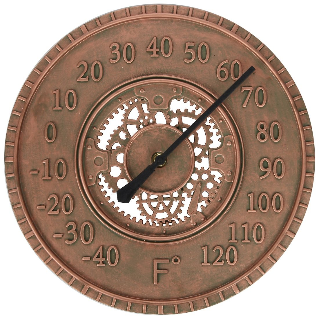 Lily's Home Hanging Wall Thermometer, Steampunk Gear and Cog Design with a Bronze Finish, Ideal for Indoor or Outdoor Use, Poly-Resin (13 Inches Diameter) Lily's Home SW1067