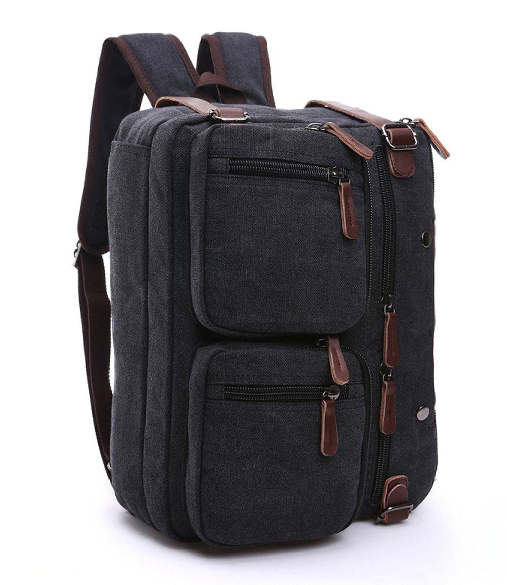 11ebe531055 best Gudui Convertible Backpack Canvas Messenger Bag Computer Laptop Bag  Vintage Retro Briefcase Satchel Shoulder Bag