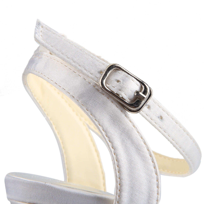 JIA JIA Scarpe da Sposa da Donna Donna Donna 14110 Open Toe Mid Heel Sandali Satinati Nodo Scarpe da Sposa de21ac