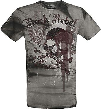 Rock Rebel by EMP Rebel Soul Hombre Camiseta Gris Oscuro S: Amazon.es: Ropa y accesorios