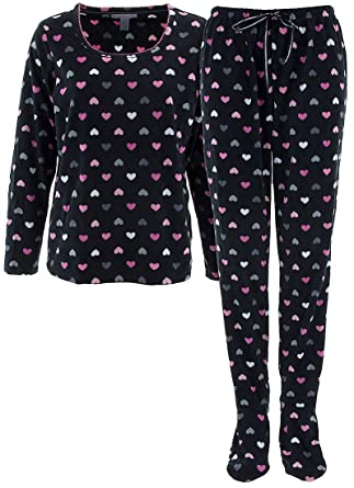 ea2bb116d best quality 74817 b2869 womens two piece footed pajamas ...