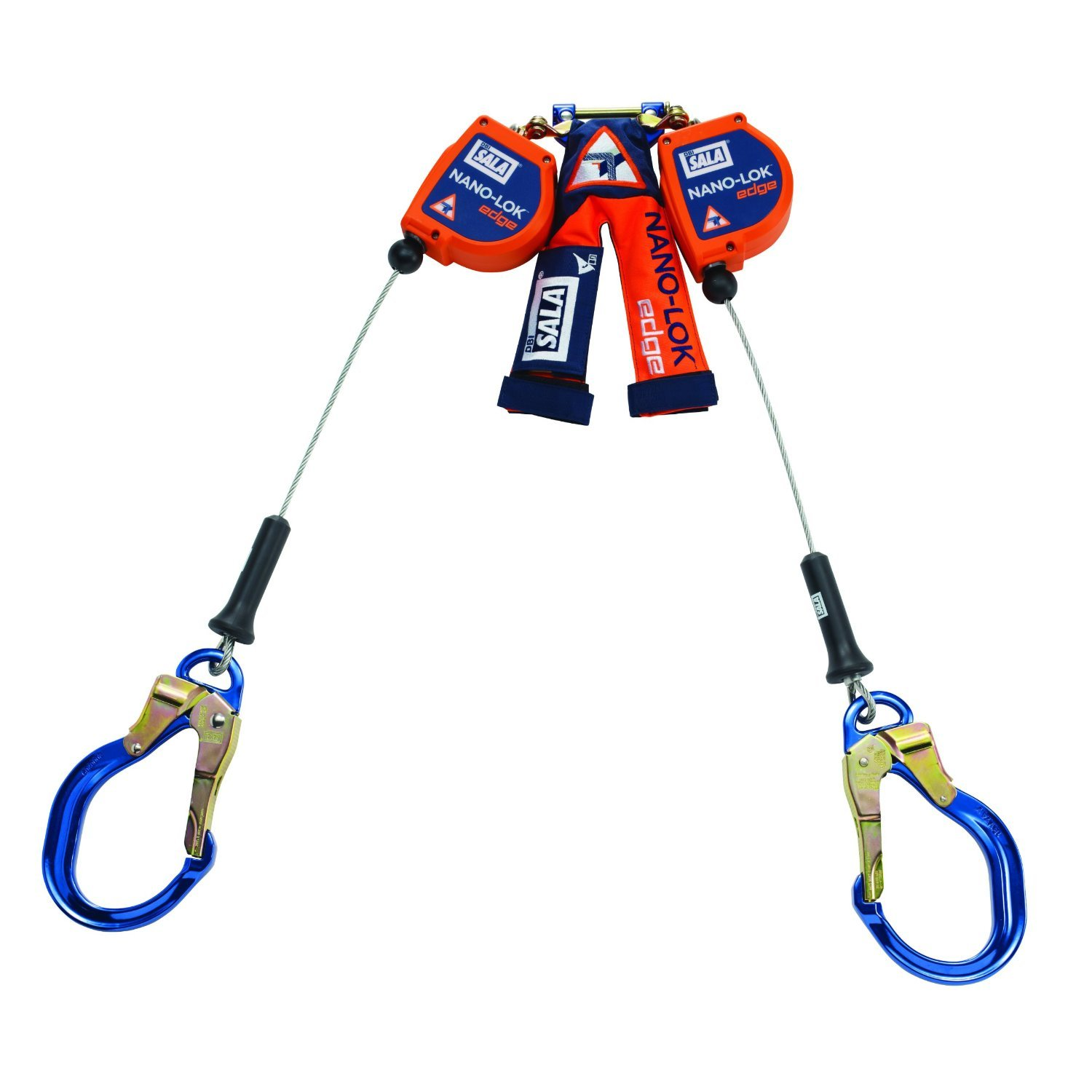 DBI/SALA 3500231 8' Nano-Lok Edge Twin Leg Self-Retracting 3/16'' Galvanized Cable Lifeline With Aluminum Rebar Lock Nose Hooks at Leg Ends, English, 141.128 fl. oz., Plastic, 1'' x 96'' x 0.19''