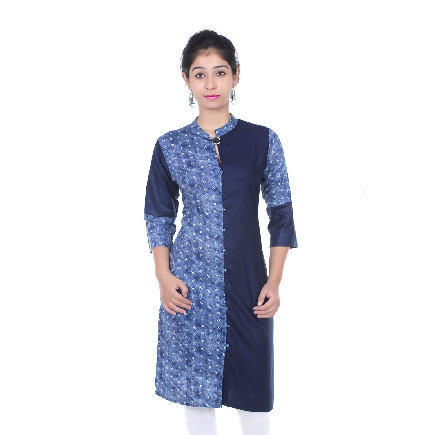 Chichi Indian Women Kurta Kurti 3/4 Sleeve Large Size Plain with One Side Printed Straight White-Blue Top