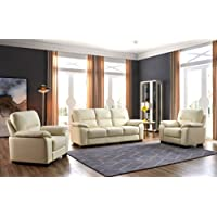 SC Furniture Ltd Cream Ivory High Grade Genuine Leather 3 Seater Sofa + 2 Leather Armchairs ALFIA