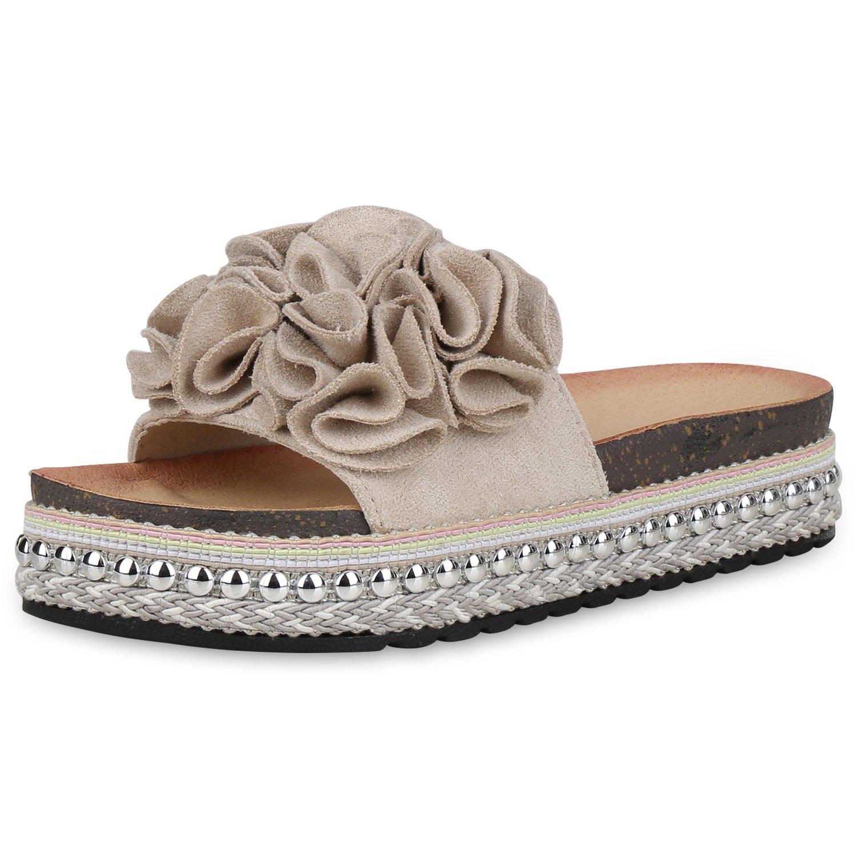 SCARPE VITA Damen Sandaletten Pantoletten mit Plateau Metallic Nieten  38 EU|Creme Nieten