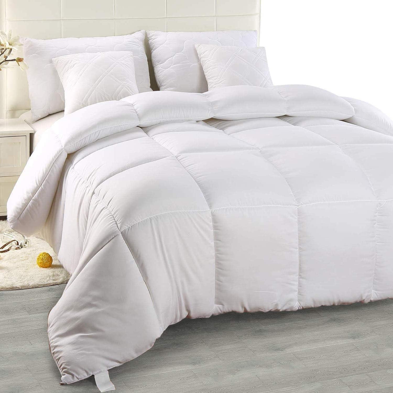 Utopia Bedding - Edredón de Fibra, Fibra Hueca siliconada, 1900 gramo (Blanco, Cama 135/150-220 x 240 cm)