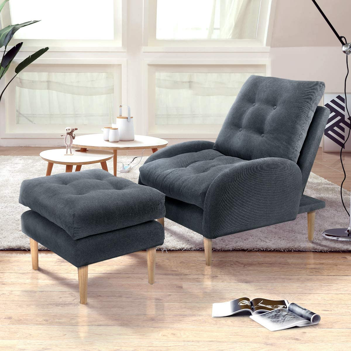 Esright Sofa Chair with Ottoman,Fabric Lounge Chair Recliner with Adjustable Backrest, Grey