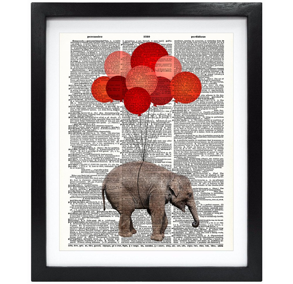 8X10 Unframed Baby Elephant With Red Balloons Upcycled Vintage Dictionary Art Print Book Art Print Home Decor Funny Prints Kids Wall Art V051