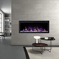"""New Model 50"""" Slim Trim Black Built-in Recessed/Wall Mounted Heater Electric Fireplace"""