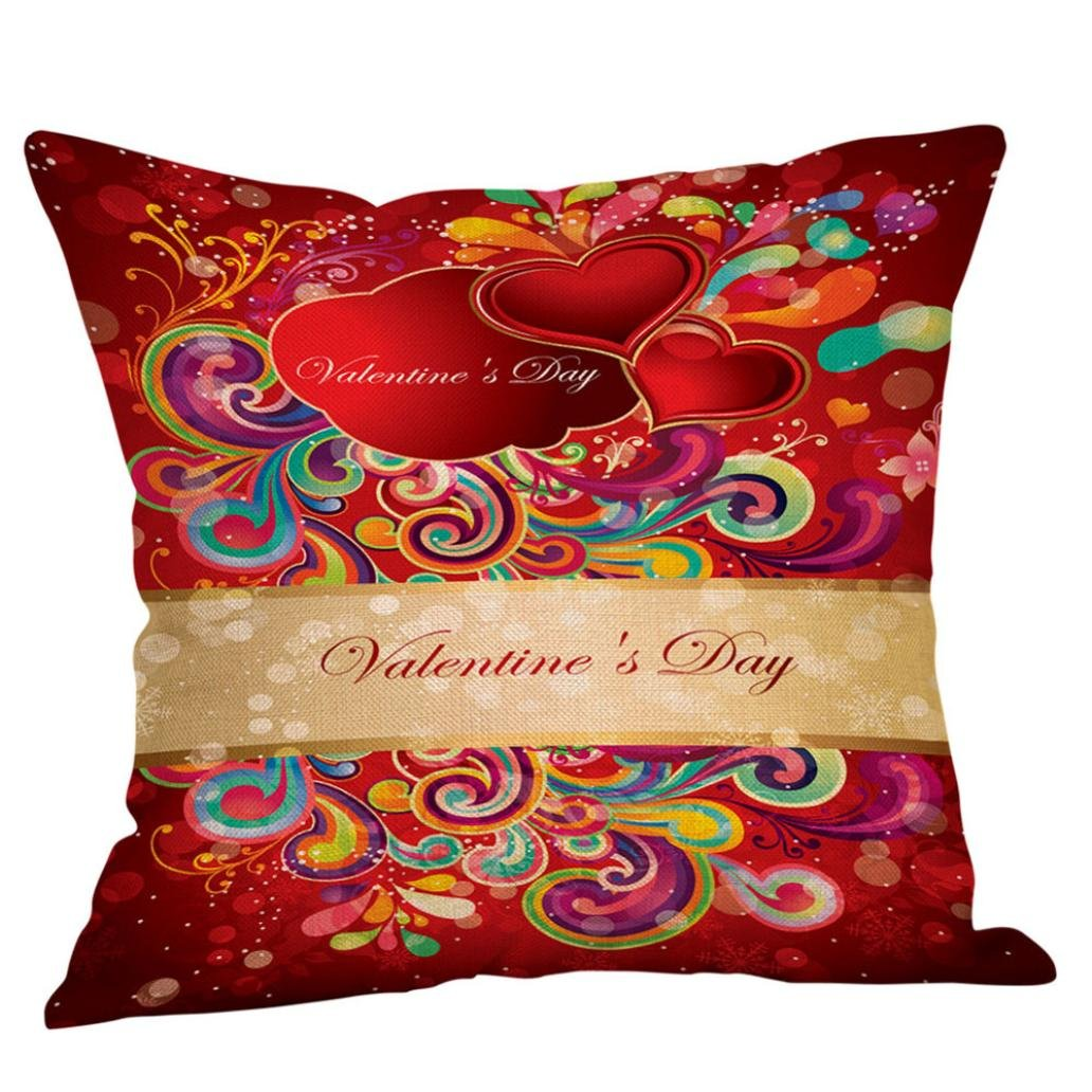 Valentines Gift Pillow Cases Linen Sofa Cushion Cover Home Decor Throw Pillow Case (N)