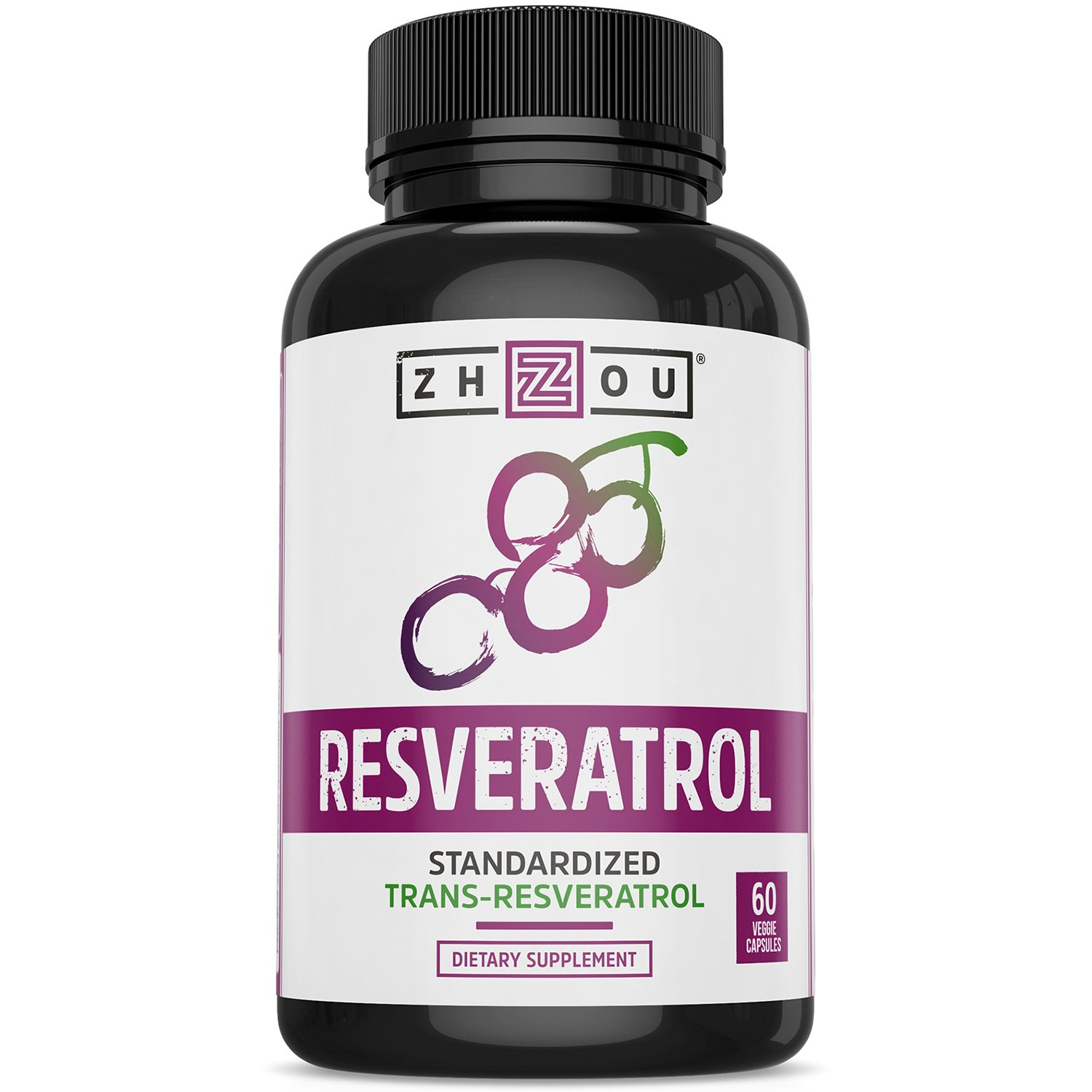 Resveratrol Supplement for Healthy Aging, Immune System & Heart Health Support - Standardized to 50% Trans Resveratrol - Powerful Antioxidant Benefits - 60 Vegetarian Capsules by Zhou Nutrition