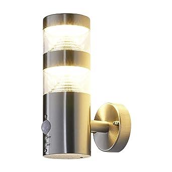 spritzwassergesch/ützt Lampenwelt Wandleuchte au/ßen Djori mit Bewegungsmelder Wandlampe f/ür Outdoor /& Garten Au/ßenwand//Hauswand Modern - Au/ßenlampe 1 flammig, E27, A++ in Alu aus Edelstahl
