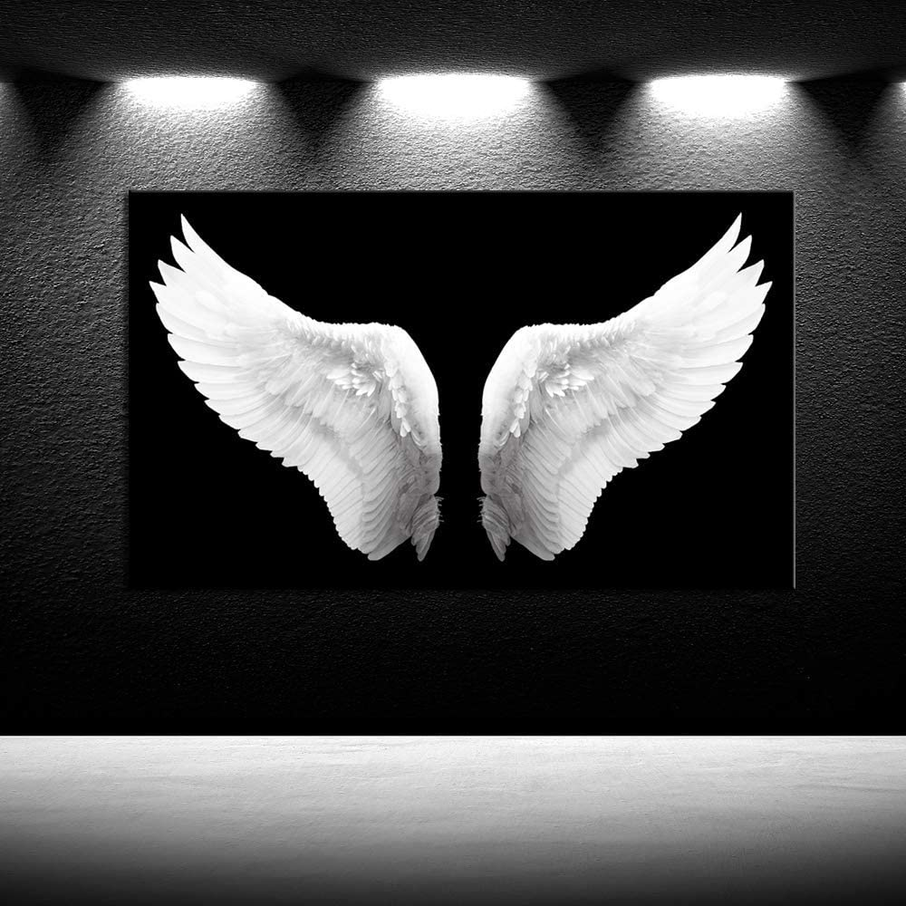 iKNOW FOTO Large Black and White Canvas Prints Angel Wings Wall Art Contemporary Art Painting for Living Room Picture Framed Art Work for Walls Home Decoration Ready to Hang Gift 24x40inch