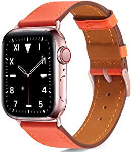Compatible with apple watch band 44mm 42mm for iWatch Bands Series 6 5 4 3 2 1 Women , Pierre Case Durable Genuine Leather Replacement Strap, Adjustable Stainless Metal Clasp