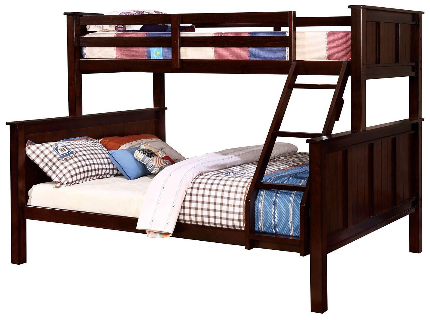 Amazoncom Furniture Of America Gracie Dark Walnut Twin Over Queen