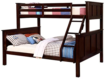 Amazon.com: Furniture of America Gracie Dark Walnut Twin Over Queen ...