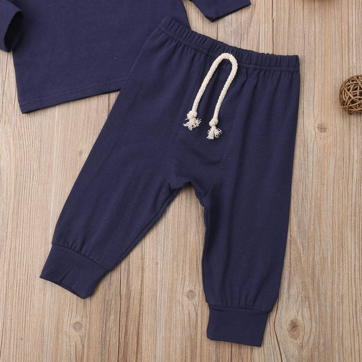 Newborn Baby Pajama Set Unisex Long Sleeve Tops Drawstring Pant Sleepwear Outfit