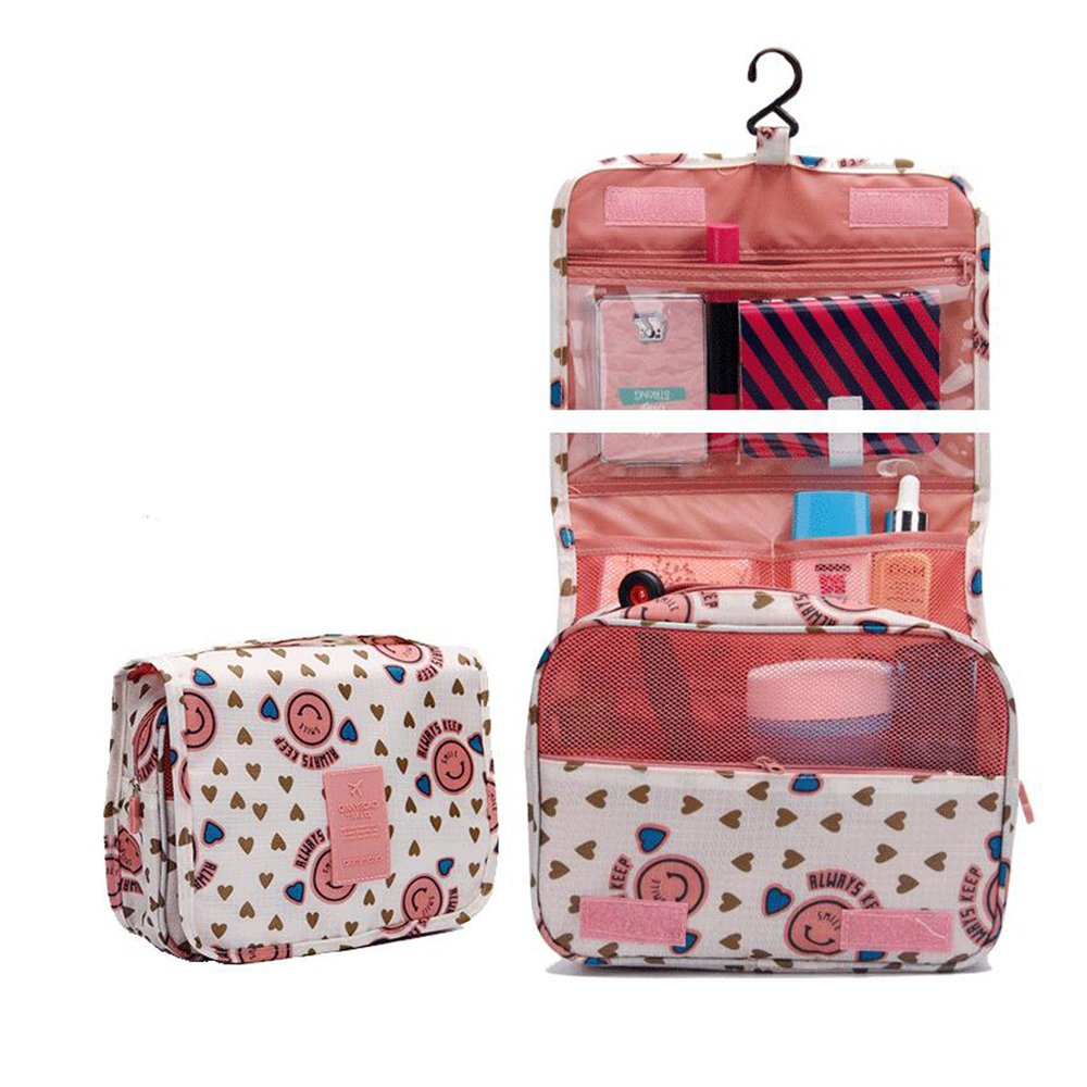 HOYOFO Portable Hanging Travel Toiletry Bag,Wine Red Smile