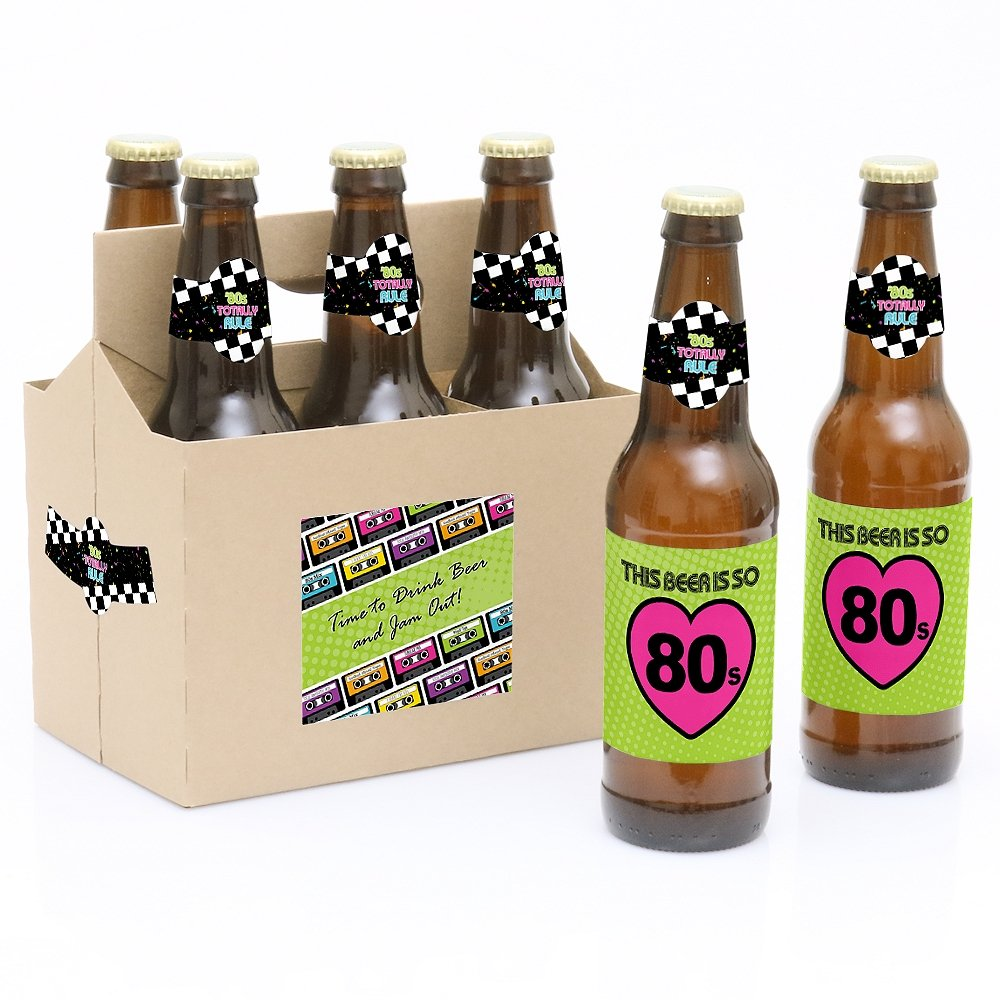 80s Retro Totally 1980s Party Decorations for Women and Men 6 Beer Bottle Label Stickers and 1 Carrier