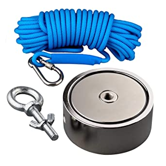Double Sided Fishing Magnet Cliff N52 Strong Neodymium 1500lbs Pulling Force Dual Locking Solid Carabiner in IPX7 Rated Carrying Protective Kit 65 Feet Rope