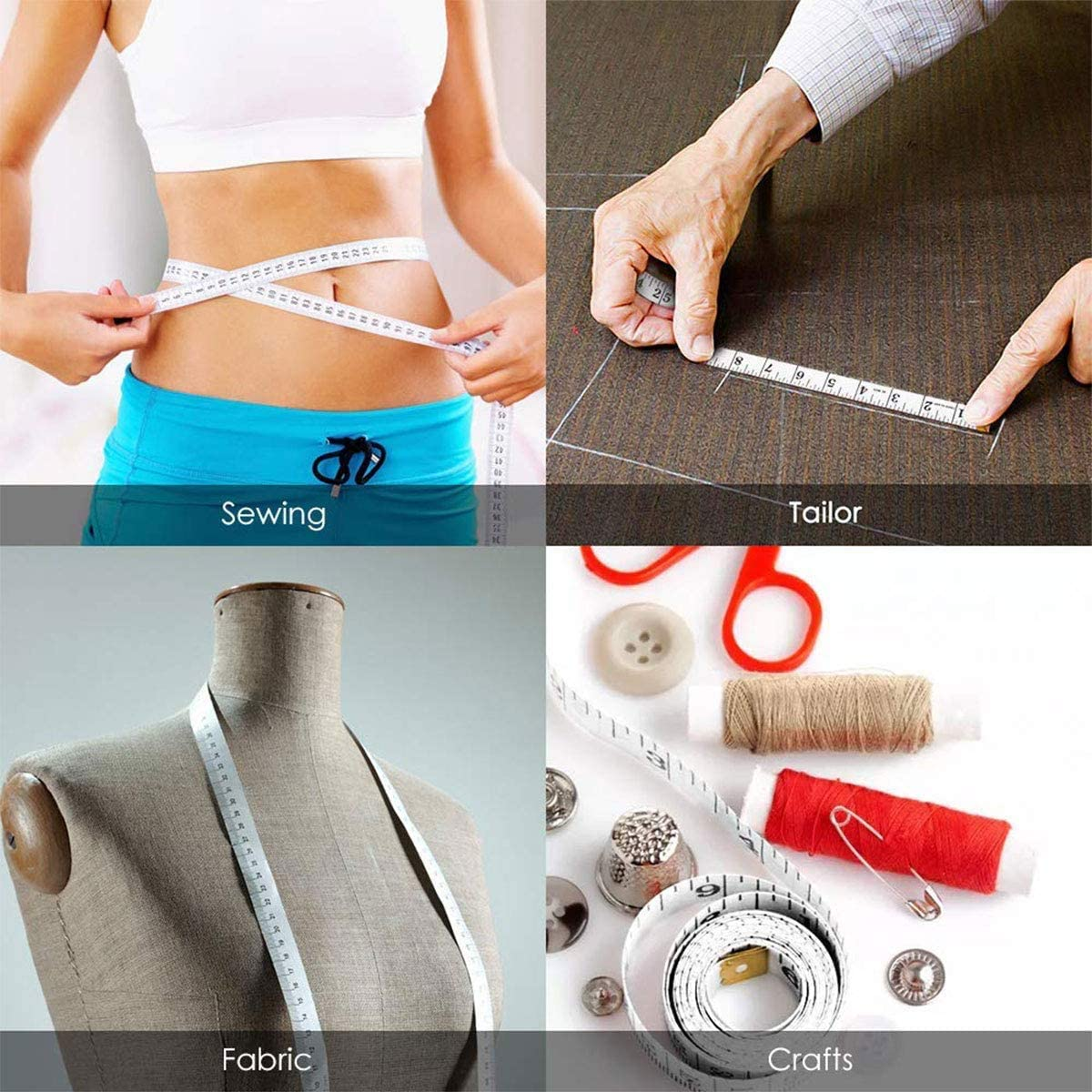 60inch // 150cm White // 1.5 metre Brand New Dual Sided Body Measuring Ruler Sewing Cloth Tailor Tape Soft Tape for Family Measure Chest//Waist Circumference 1 Pcs