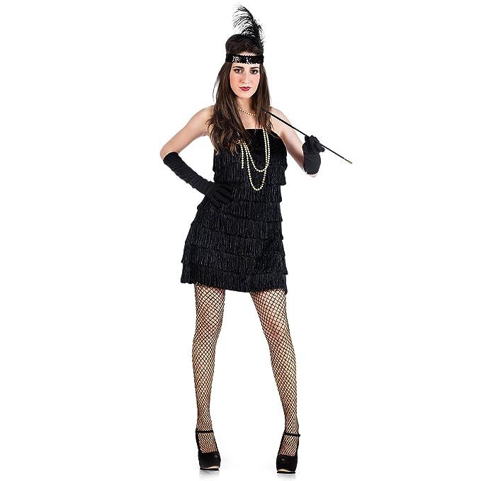 Minivestido de Charleston disfraz de señora sexy años 20 vestido negro - XS