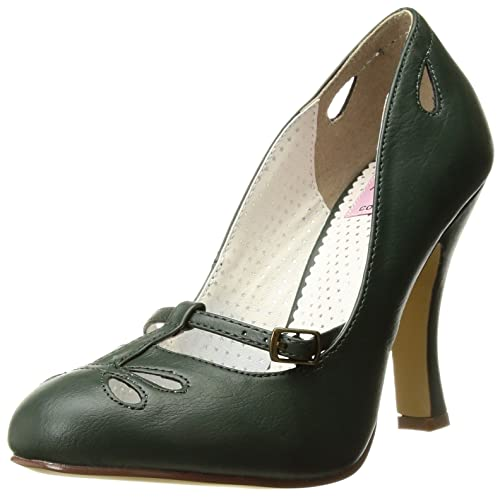 Pin Up Couture SMITTEN-20 Forest Green Faux Leather UK 2 (EU 35 )