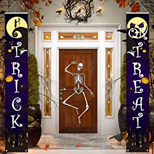 Allenjoy Halloween Before Christmas Welcome Porch Signs Hanging Wall Door Banner Trick or Treat Decoration Outdoor Indoor 11.8x70.9 Inch Home Decor Event Front Yard Party Supplies 2PCS