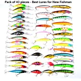 Hard Fishing Lures 43pcs Topwater Lures & Crankbaits Gear for Freshwater,Fishing Tackle Lure Kit Set is Christmas Gift for Fishing Enthusiasts
