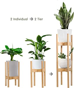 Becko 2 Pack Plant Stands Indoor Plant Racks Pot Holders, 2 Tier Tall Plant Stand for Home Decor Fit Pots in Varied Sizes with Adjustable Width 8 – 12 in, Plant & Pot Not Included (Burlywood)