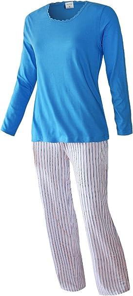 Damen Pyjama-Set Nachtwäsche lang zweiteiliger Schlafanzug S M L XL 2XL