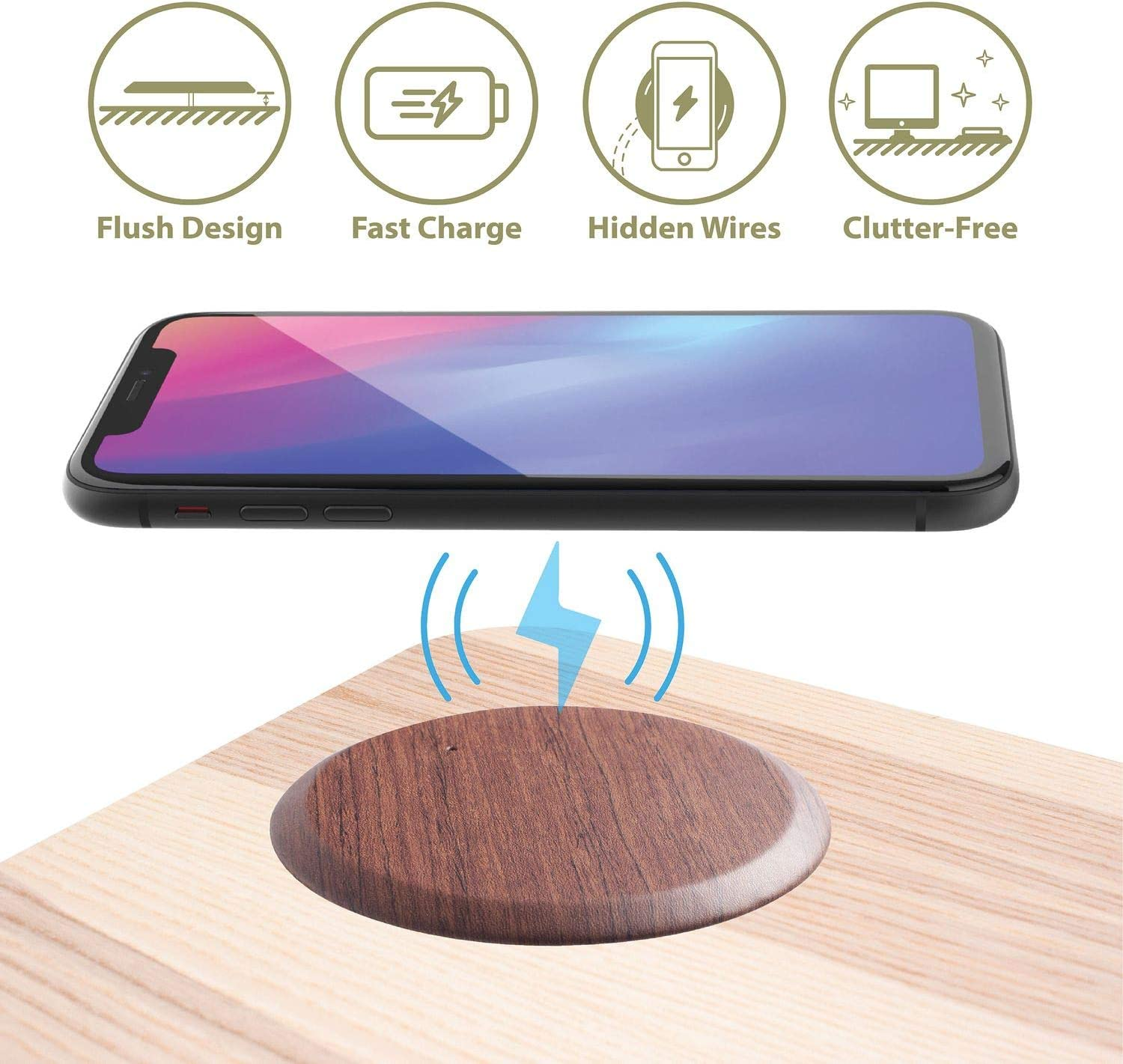 Cobble Pro Embedded 10W Wireless Charger with Hidden Cable [Integrate Into Desk] [Ultra Slim] [Cable Free Desktop] [No Core Drill Needed] [Easy to Install] [Tools Included] Wood Pattern PU