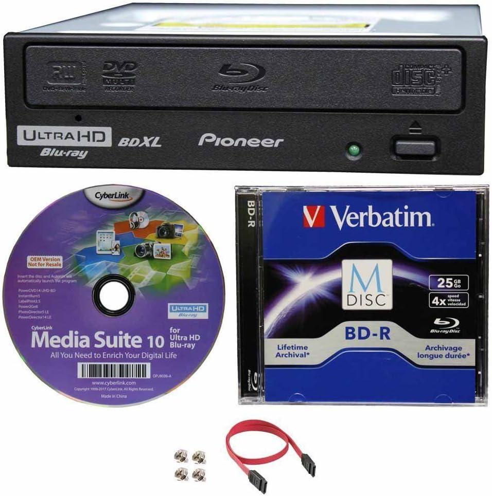 Schwarz mit gl/änzender Oberfl/äche Pioneer BDR-S12XLT 16X interner SATA Blu-ray CD-Brenner mit M-Disc und BDXL Disc Unterst/ützung DVD