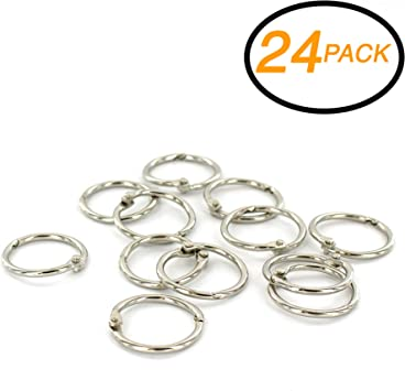 Pack of 20 Emraw Assorted 1 inch Color Metal Book Rings Precision Snap Lock Closures Rust-Proof School /& Home for Office