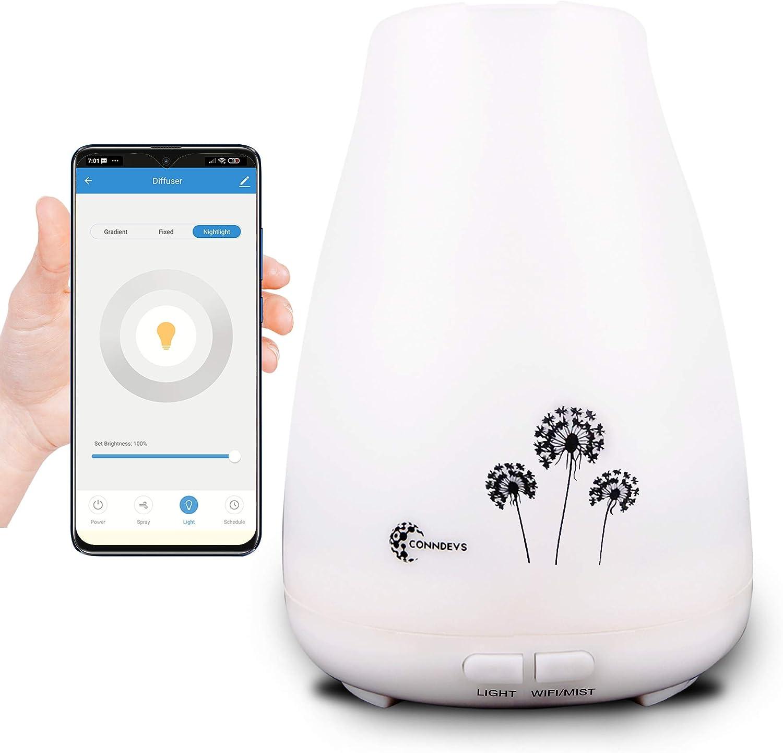 Difusor de Aceites Esenciales SMART, con WiFi y App | Aromaterapia | Humidificador ultrasónico con aromas | Control vocal Alexa y Google Home | Lámpara LED de 7 colores | Apagado automático