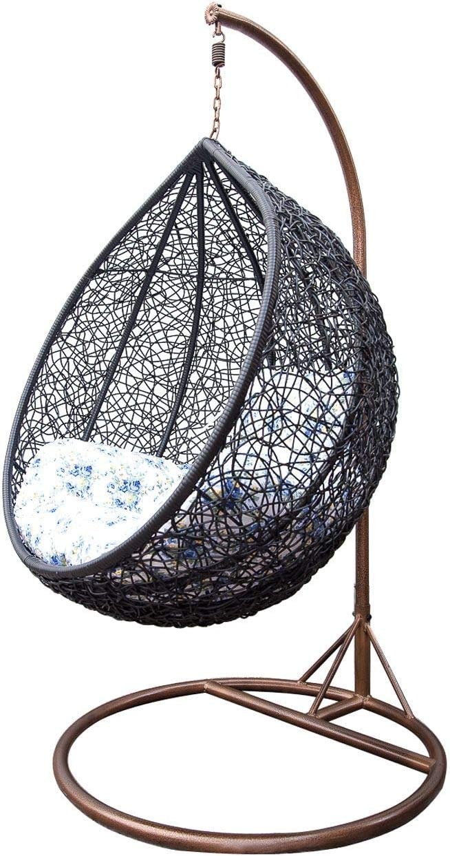Smccvnvbv Hammock Chair Patio Hanging Egg Chair with Stand Swing Chair,Porch Chaise Lounge Chair,Rattan Wicker Hammock Chair with Deep Cushion