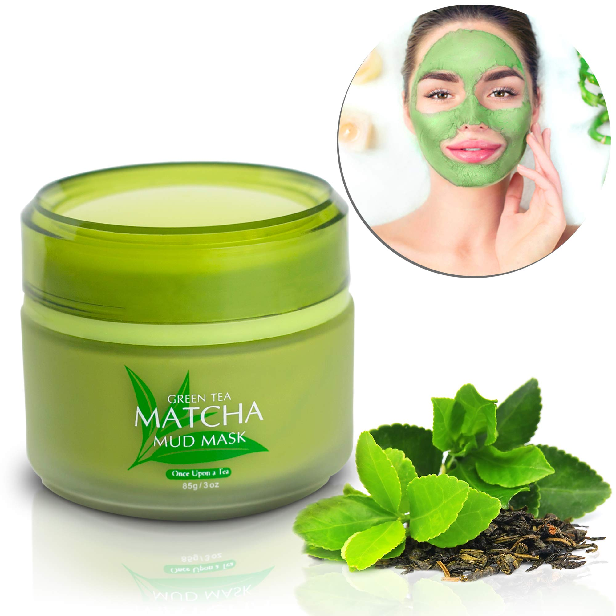 Green Tea Matcha Facial Mud Mask, Removes Blackheads, Reduces Wrinkles, Nourishing, Moisturizing, Improves Overall Complexion, Best Antioxidant, Skin Lightening & Anti Aging, All Skin Face Types by Once Upon A Tea